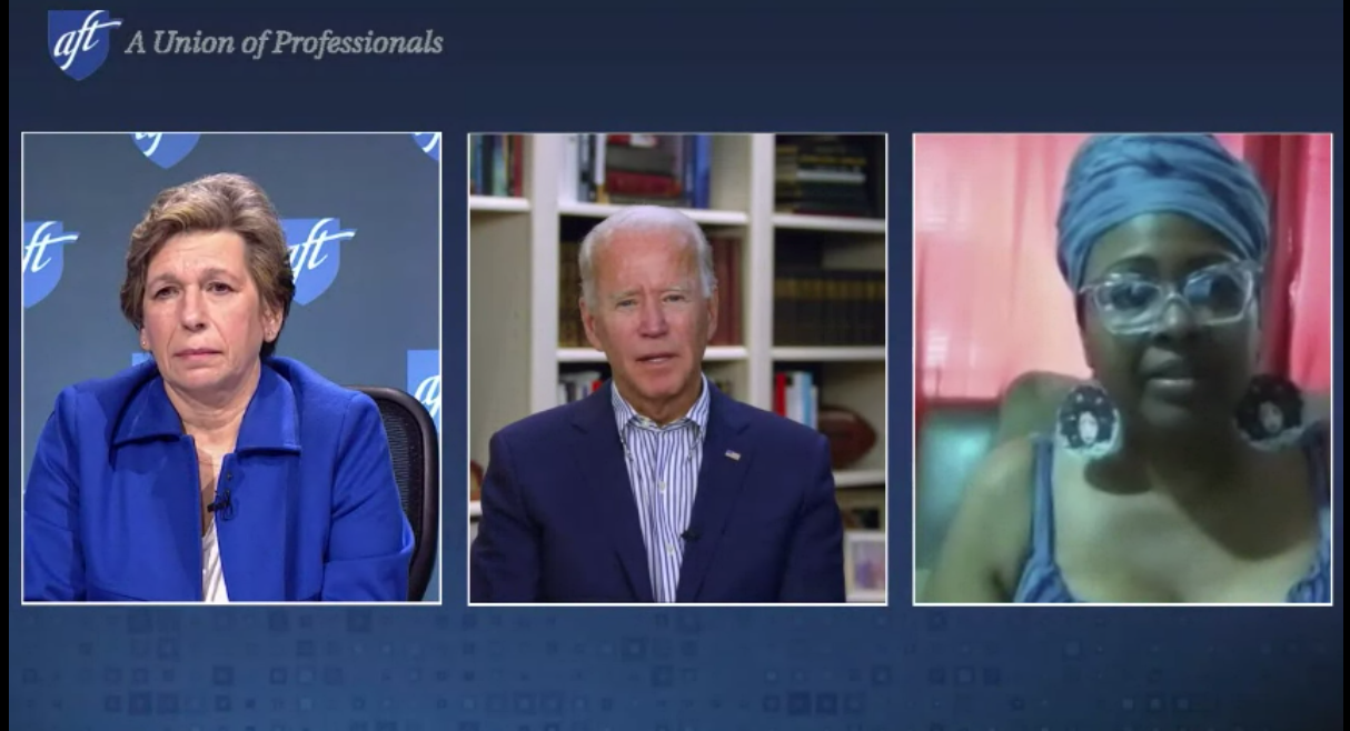 Photo: Video call with Joe Biden during the 2020 AFT Convention