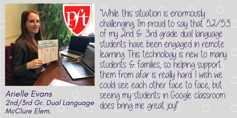 Quote from Arielle Evans, 2nd/3rd Gr. Dual Language, McClure Elem.