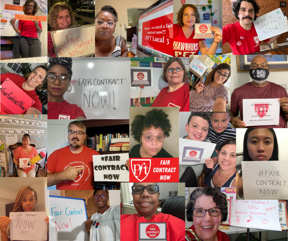 """Photos of PFT Members with """"Fair Contract Now"""" signs"""