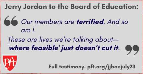 """Jerry Jordan: """"Our members are terrified. And so am I. These are lives we're talking about -- 'where feasible' just doesn't cut it."""""""