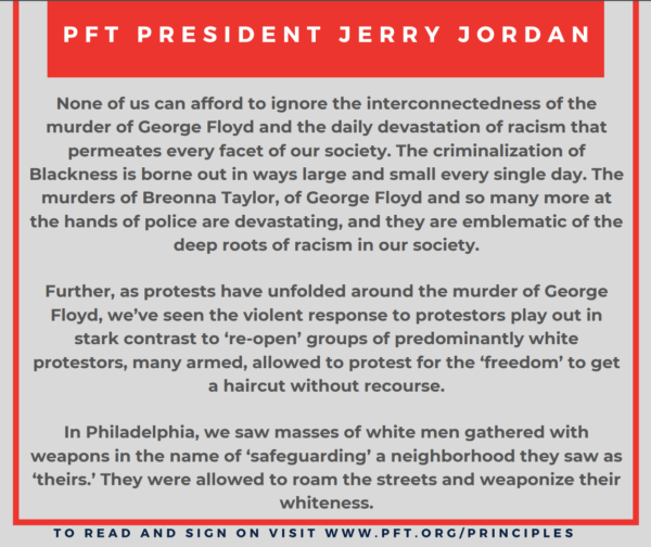 Quote from PFT President Jerry T. Jordan
