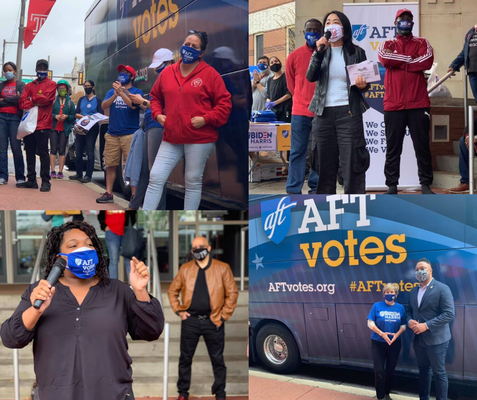 Photos from th AFT Votes Bus Tour