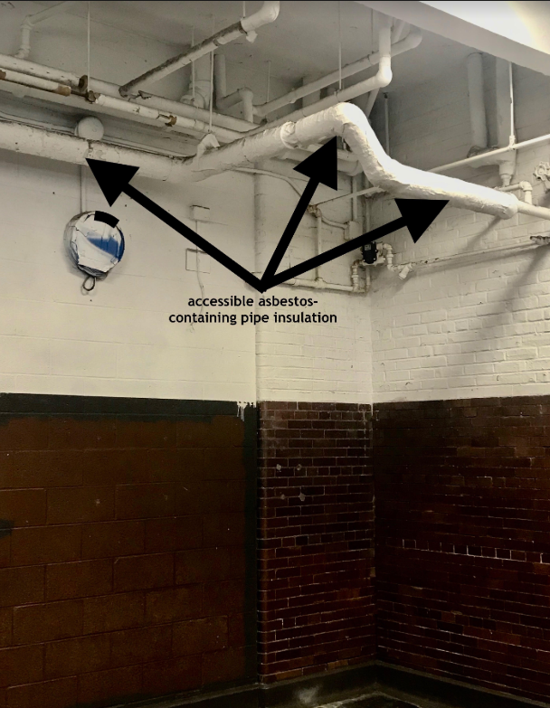 Accessible asbestos insulation in gym