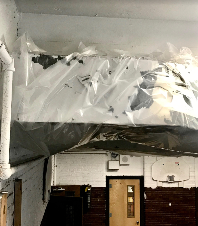 "Damaged lead paint on ductwork in gym — ""control"" used is plastic wrap?"