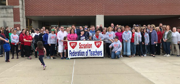 SFT members are joined by parents, board members and administrators demanding fair funding.