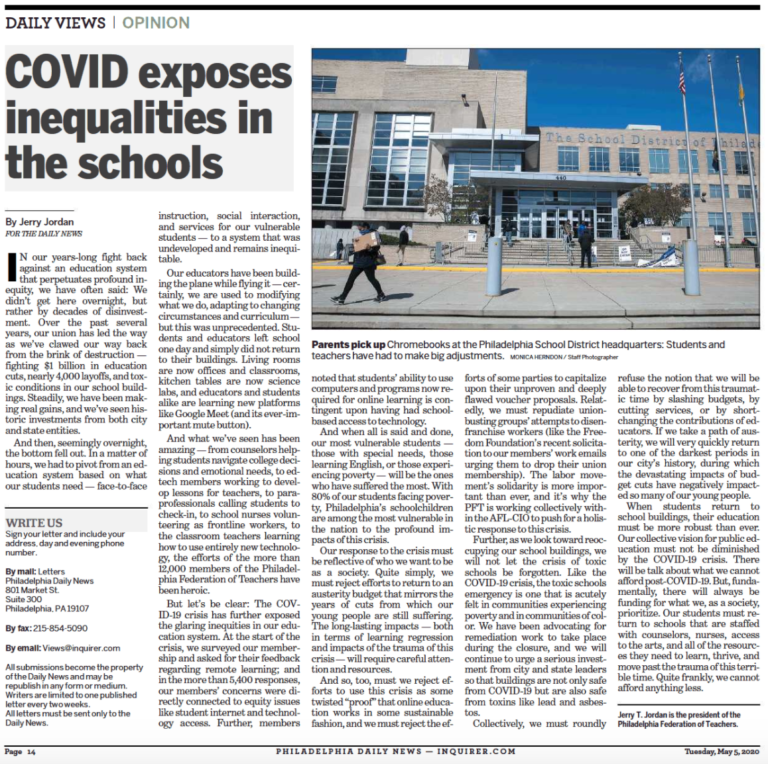 Photo of Daily News Opinion headline: COVID exposes inequalities in the schools